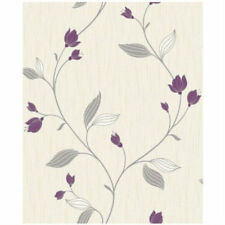Modern Charlotte Floral Textured Wallpaper Plum Cream Silver Fine Decor FD31137