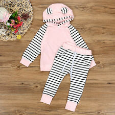 2PCS Newborn Baby Boy Girls Infant Clothes Hooded T-shirt Tops+Pants Outfits Set