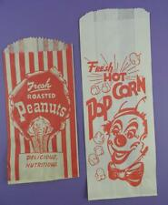 Original Vintage Circus Clown Pop Corn Bag & Elephant Peanuts Bag