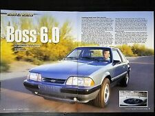 1989 Ford Mustang Boss 6.0 LX 5.0 - 6-Page Original Article - Free Shipping