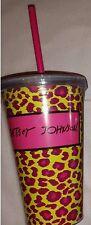 BETSEY JOHNSON TUMBLER COLD BEVERAGE PINK LEOPARD 16 0Z, MULTI-COLOR