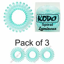 KODO Spiral Hair Bobble Pack of 3 LUMINOUS GREEN Invisible Tangle Free Hair Band