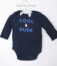 "Gap Infant Boy Navy ""COOL DUDE"" One Piece Long Sleeve bodysuit 0-3 m NWT"