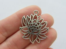 8 lotus flower charms antique ton argent F184