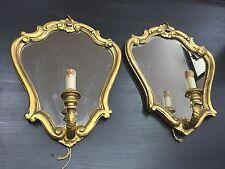 Coppia di appliques in legno dorato anni 50 con specchio applique
