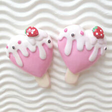 "US SELLER - 10 pcs x (1 3/8"") Resin Ice Cream Bar/Heart Flatback Beads SB532P"