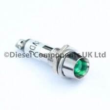 12v DC Green Round Led Panel / Dashboard Warning Light - (Non Flashing)