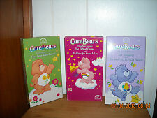 3 Care Bears VHS Movies Town Parade, Gift of Caring, The Turnabout