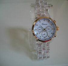Fashion Designer Clear/Gold Color 3D Boyfriend Geneva  Watch