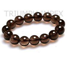 SMOKY Quartz Natural Healing Stone Bead Bracelet : 99.99% Clear