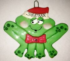 "Personalized 4"" Green Frog JONATHAN 1998 Ornament Figurine"