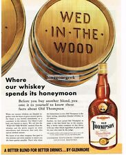 """1955 Glenmore's OLD THOMPSON Whiskey Barrel """"Wed In The Wood"""" art Vtg Print Ad"""