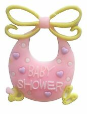 12 Flexible Pink Bib baby shower favors appliques - 4 pk of 3