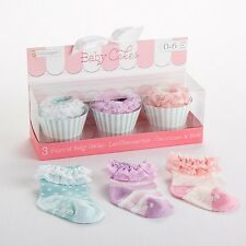 Baby Cakes 3-Pairs Cupcake Themed Sock Gift Set (0-6 Months) Baby Shower Gift
