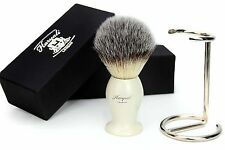 Syntactic (Badger looking)Hair Shaving Brush with Ivory Handle/Base&Stand/holder