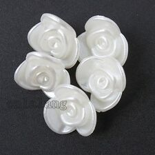 100pcs Wholesale White Flower Acrylic Loose Spacer Beads Jewelry Supplies DIY C