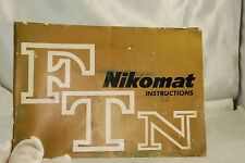 Nikomat FTN Nikon camera Manual Guide  Instructions EN 7119098