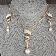 Shiny 18k Gold Filled pearl Austrian Crystal jewelry sets necklace/earrings