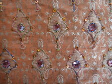 Silk Metallic Salmon Color Embroidered Fabric From India 5 Yards Gorgeous