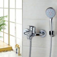 Wall Mount Chrome Bathroom Brass Shower Mixer W/Handheld Sprayer Tap Tub Faucet