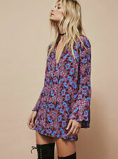 NWOT $108 Free People Magic Mystery Floral Printed Tunic Mini Dress XS