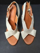 LATITUDE FEMME MADE IN ITALY VERO CUOIO BEIGE SANDALS HEELS 38 1/2 Size 6 1/2