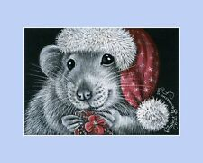 Christmas Rat ACEO Print Present For A Friend by I Garmashova