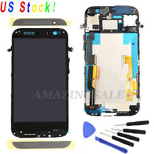 Black Gray LCD Screen Digitizer + Frame Assembly Replacement For HTC One M8 US