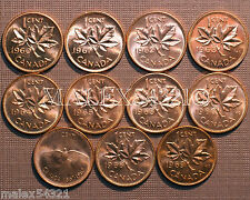 1960 TO 1969 BU CANADA 1 CENT MINT STATE (11 COINS)   FREE $HIPPING IN CANADA!