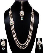 Gold Tone Long Kundan Turquoise Blue Set Necklace Tikka Wedding Jewelry Bridal