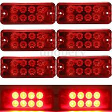 6pcs Red 12V 8 LED Side Marker Light Lamp Truck Trailer Lorry Caravan Waterproof