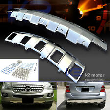 06-08 Benz W164 Ml350 Chrome Polished Front+Rear Bumper Skid Plate Cover