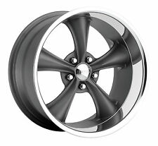 CPP Boss Motorsports style 338 wheels rims, 17x8 front+18x9.5 rear, 5x4.5 gray