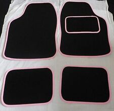 Pink trim and Black car mats for Fiat Grande Punto Brava Panda Stilo 500 Scudo