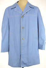 Vtg Jack Nicklaus Gleneagles sz 42 L Button Up Tench Coat Overcoat Blue Poly Cot