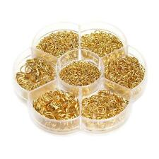 1 Box Mixed Size Iron Plated Open Jump Rings Jewelry Making Link Loop Gold