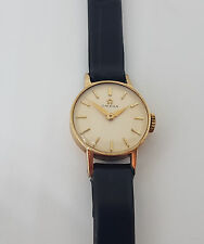 USED VINTAGE OMEGA SOLID 9K GOLD CREAM DIAL MANUAL WIND CAL:483 LADIES WATCH