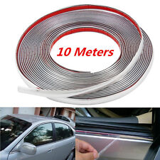 10M x 10mm Car Bumper Door Edge Guard Chrome Decor Protector Moulding Trim Strip