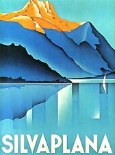 ADVERT SILVAPLANA TRAVEL MOUNTAIN HISTORY SWISS GRAPHIC DESIGN POSTER LV256