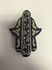 Moroccan Khamsa Hand Lucky Amulet Glazed Ceramic Mosaic Tile Hang Wall Blue