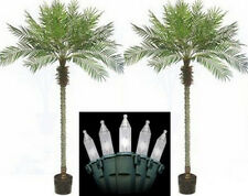 Two 8 foot Artificial Phoenix Palm Trees in Pot & Holiday Christmas Lights Date