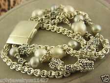 MICHAEL DAWKINS  4 Strand Sterling Silver and Pearl Bracelet . #130