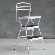 Cosco White Retro Counter Chair / Step Stool with Lift-up Seat, 11130WHTE New