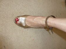 office shoes size 4 gold wedges peep toe ankle strap shoes