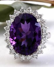 13.95 Carats Natural Amethyst and Diamond 14K Solid White Gold Ring