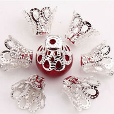 100 Pieces Filigree Flower Cup Shape Silver Loose Bead Caps for Jewelry Making