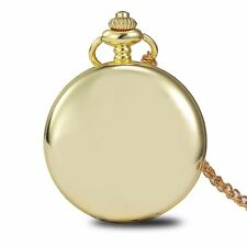 New Classic Smooth Case Gold Men Quartz Pocket Watch Watches Chain Antique Style