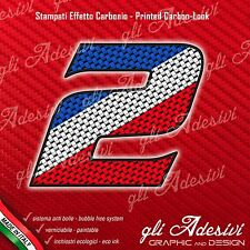 Adesivo Stickers NUMERO 2 moto auto cross gara Carbon Effect Blu White Red 10 cm
