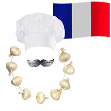 French Chef / Cook Fancy Dress: Hat + Moustache + Garlic Onion Garland + Flag