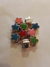 Colorful Acrylic European Beads, Enamel Style, Flower, Mixed Colour bag of 10